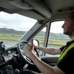Stuart the couriers tv van driver giving thumbs up