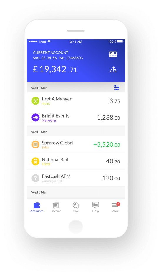 Mobile phone with banking app