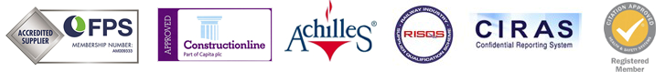 block of logos including FPS ConstructionLine Achilles RISQS CIRAS and Citation Approved